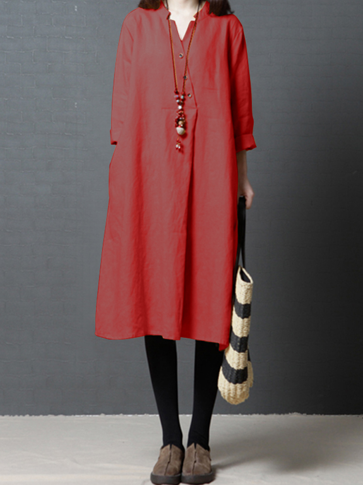 Womens Casual Solid Button V Neck Long Cotton Shirt Dress