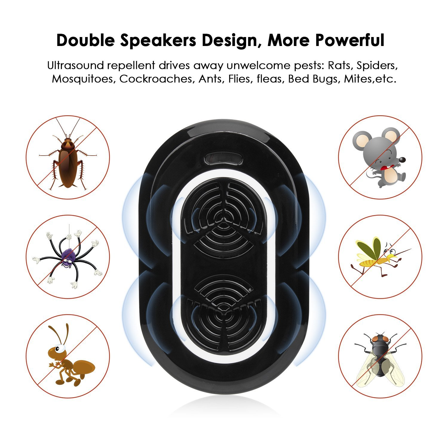 Loskii BS-710 Ultrasonic Pest Repeller Electronic Pest Control Repel Mouse Bugs Mosquitoes Roaches Killer