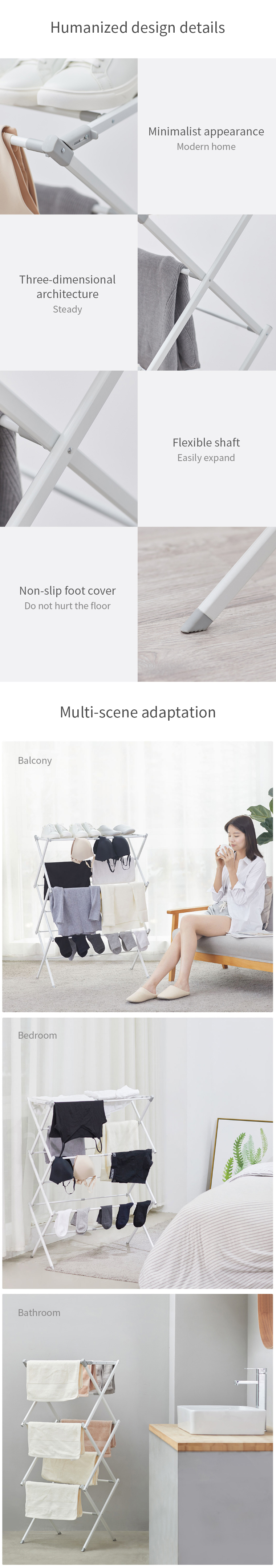 XIAOMI MR. BOND X Folding Drying Rack Modern Floor Holder Standing Rust-Proof Indoor Cloth Hanger Balcony Multi-Function Drying Rack