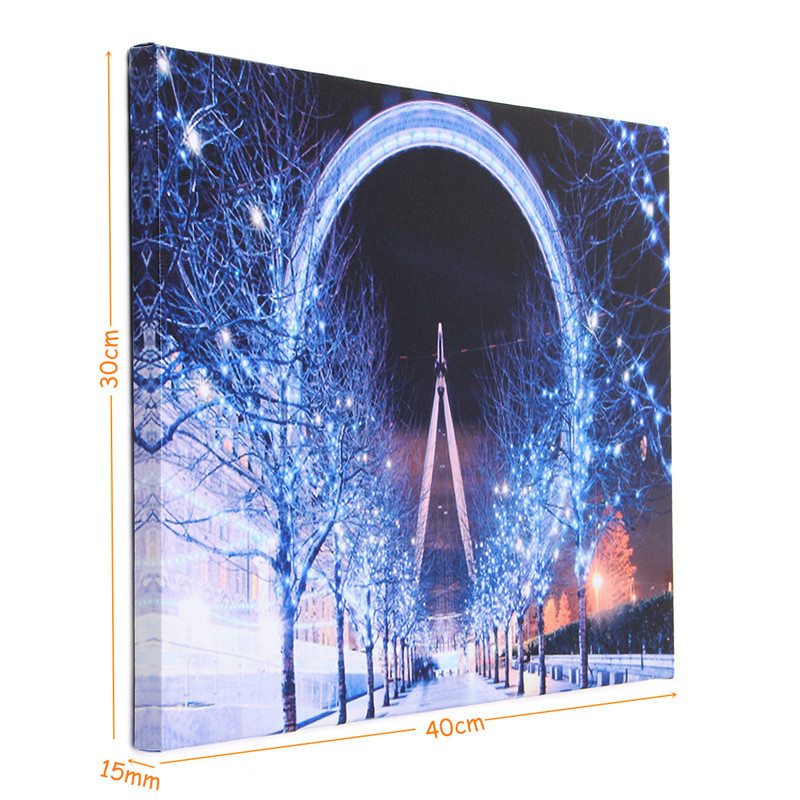 40 x 30cm Operated LED Christmas Snowy Street Ferris Wheel Canvas Print Wall Paper Art