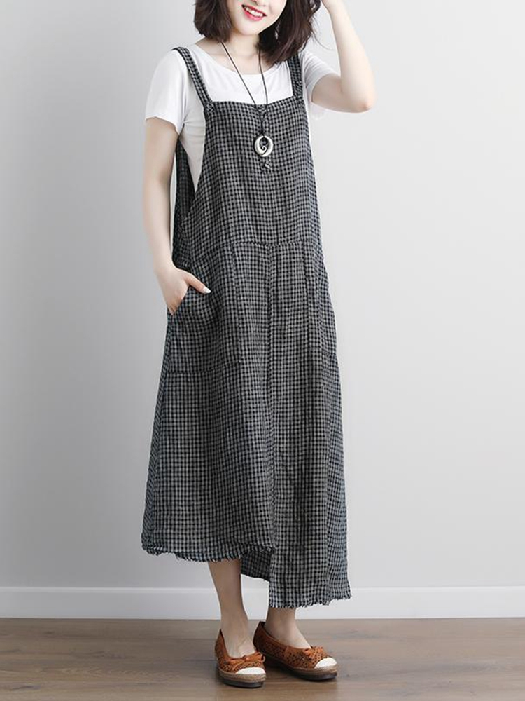 Women Vintage Plaid Sleeveless Strap A-Line Tank Dress