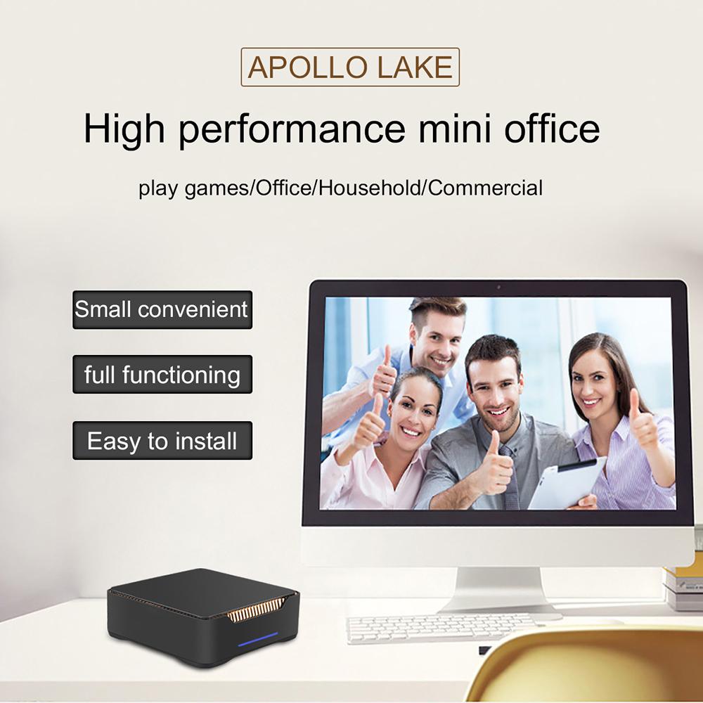 AK3V Mini PC Intel J3455 Quad Core 6GB/64GB Intel HD Graphics 500 Dual HDMI Plus VGA Three Screen Output 4K WiFi EUR