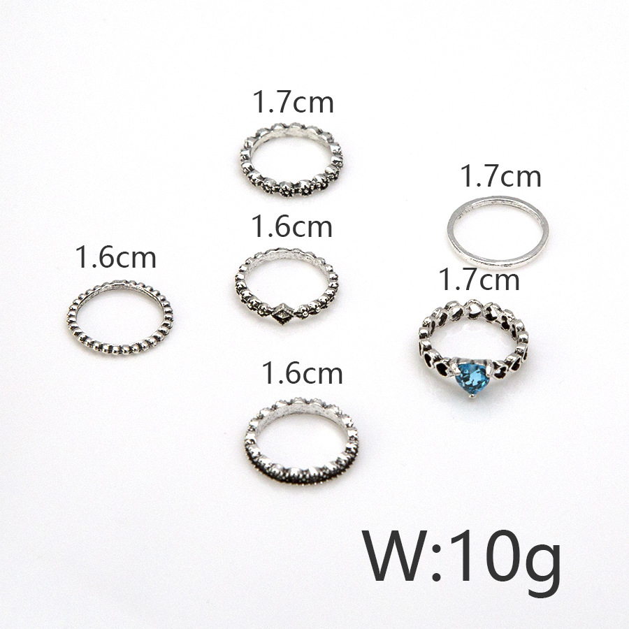 6 Pcs/Set Ethnic Antique Silver Rhinestone Heart Shape Rings