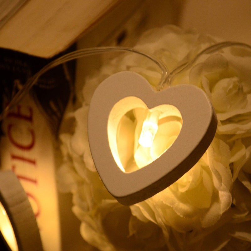 10 LED Battery Wooden Heart Shape String Lights For Christmas Decoration White Christmas Light
