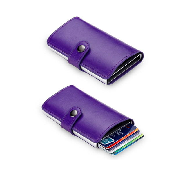 Fashion Aluminum Leather ID Credit Card RFID Protector Holder Case Purse Wallet