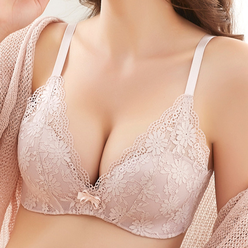 42d68df74b8ce Banggood Sexy Lace Jacquard Bowknot Half Cup Gather Wireless Bra