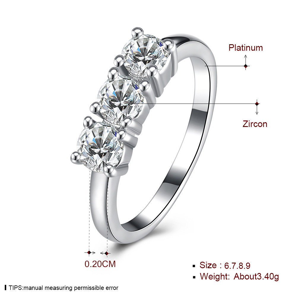 INALIS Zircon Platinum Plated Anniversary Jewelry Gift Finger Rings