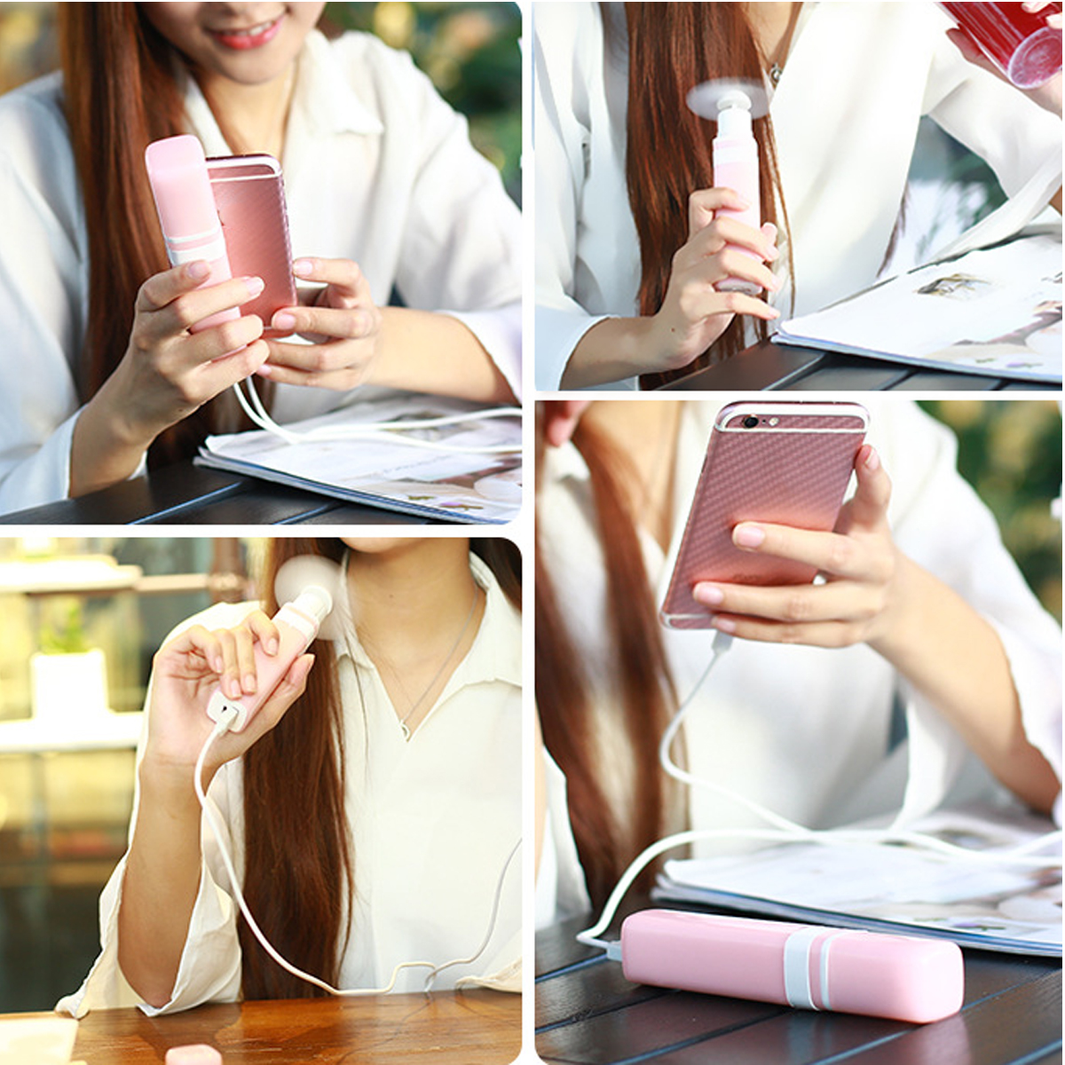Portable Mini Handheld USB Lipstick Fan Electric Cooler Rechargeable 2600mAh Power Bank