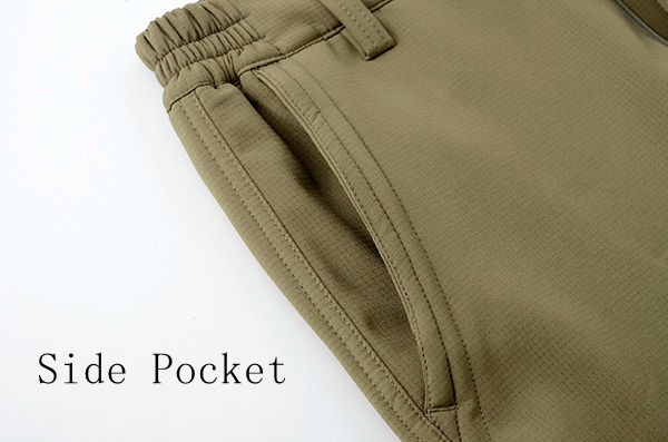 Winter Thick Fleece Warm Casual Cargo Pants Mens Outdoor Multi Pocket Stretch Trousers