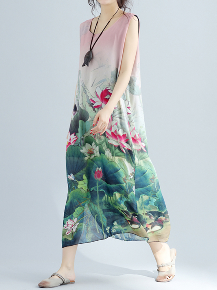 Lotus Printed Midi Dress