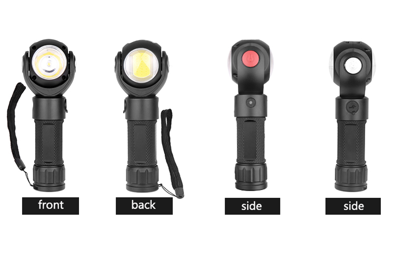 XANES® 1315 T6 + COB 7Modes 360° Rotating Head Flashlight Magnetic Tail USB Charging LED Torch