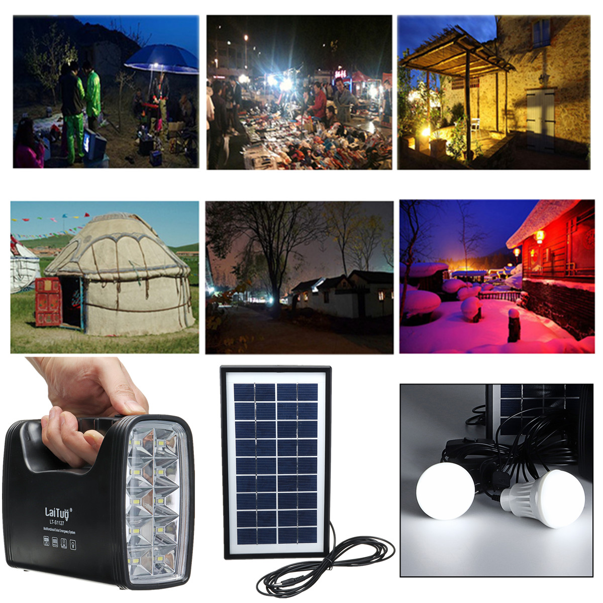 Solar Lighting System Protable DC Home System Light Kit Solar Generator With Solar Panel