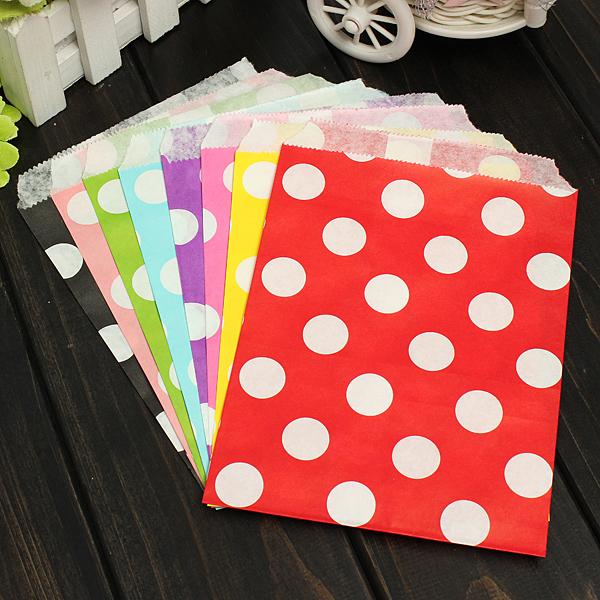 25pcs Biodegrable Polka Dot Candy Gift Bag Wedding Party Paper Food Bag
