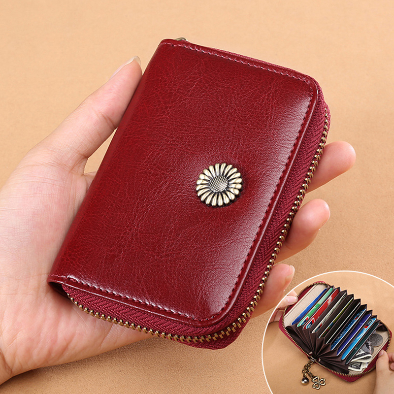 Details: Material Genuine Leather Color Black, Blue, Brown, Wine Red Weight 300g Length 8cm(3.15'') Height 12cm(4.72'') Width 2.5cm(0.98'') Inner Pocket 11 Card Slots Closure Zipper Package Include: 1*Bag More Details: #purse