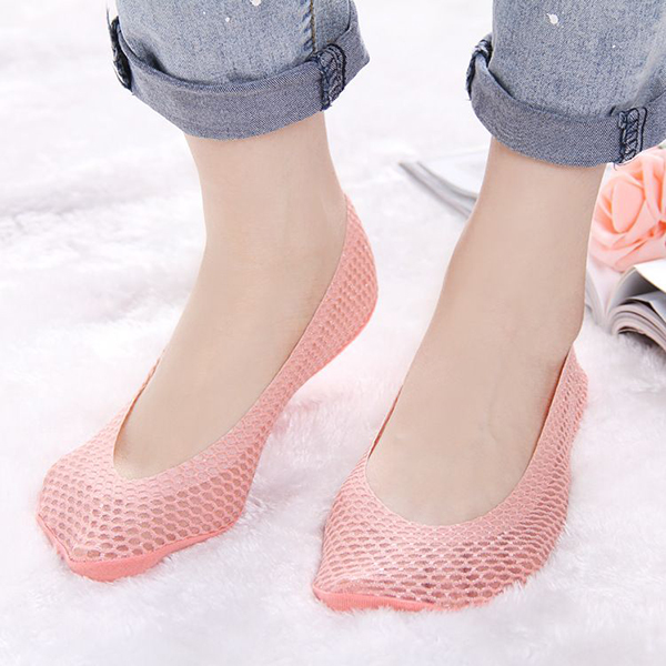 Women Summer Hollow Breathable Mesh Invisible Boat Socks Silicone Antiskid Shallow Low Cut Socks