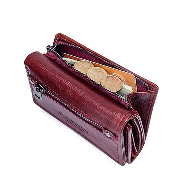 Women Trifold Genuine Leather Vintage Solid Wallet