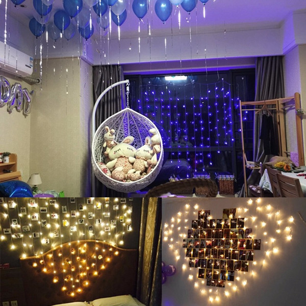 128 LED Heart-Shape Fairy String Curtain Light Valentine's Day Wedding Christmas Decor Lamp