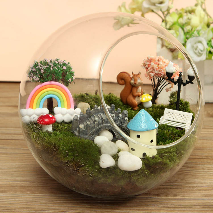 DIY Eco Bottle Decoration Resin House Castle Garden Flower Pot Micro Landscape
