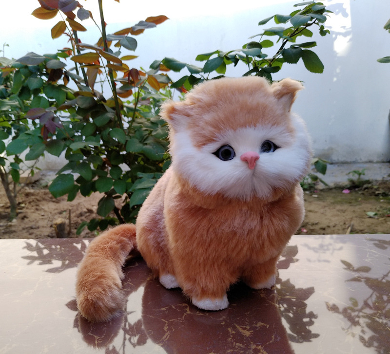 Lifelike Cat Animals Models Stuffed Plush Toy Realistic Persian Cat Dolls With Sound Effect