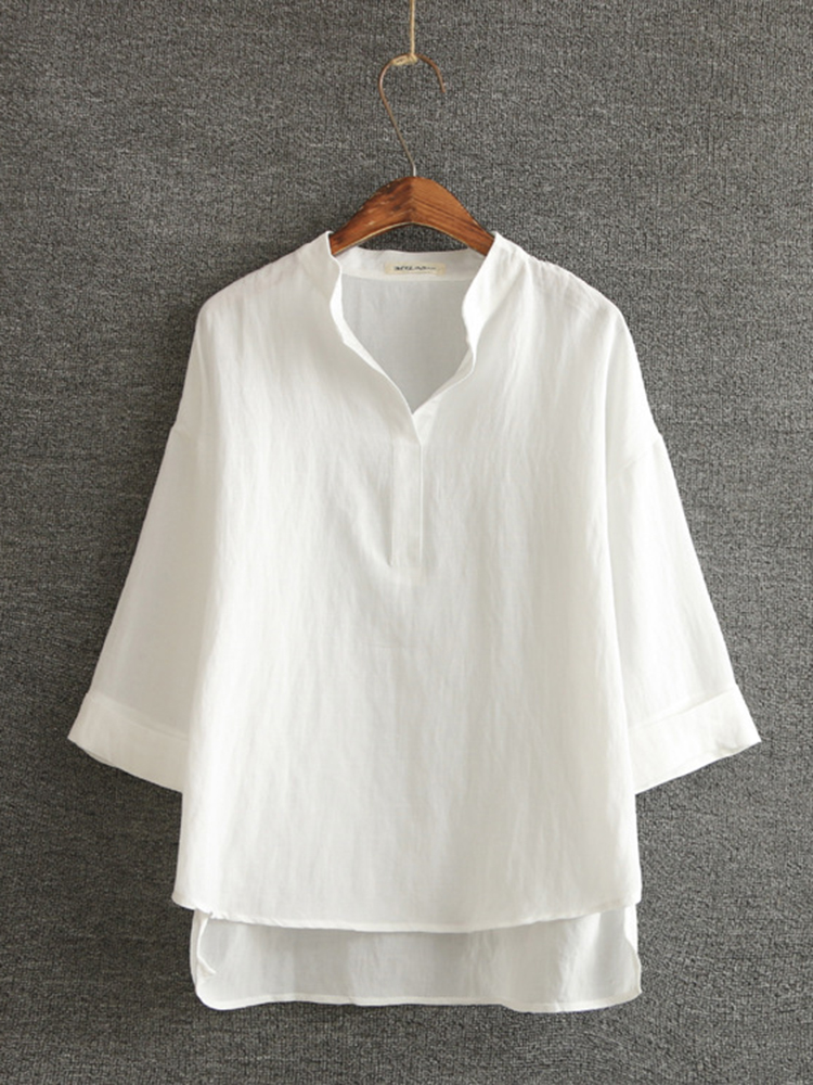 Casual Women Cotton Solid Color Stand Collar 3/4 Sleeve Tops