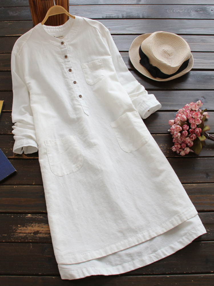 Women Long Sleeve Button Pure Color Vintage Shirt Dress