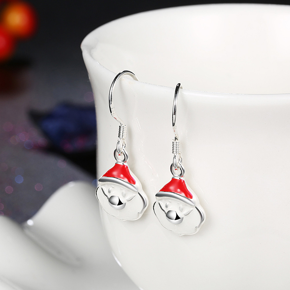 Christmas Santa Claus Necklace Enamel Process Earrings Gift Party Jewelry Set
