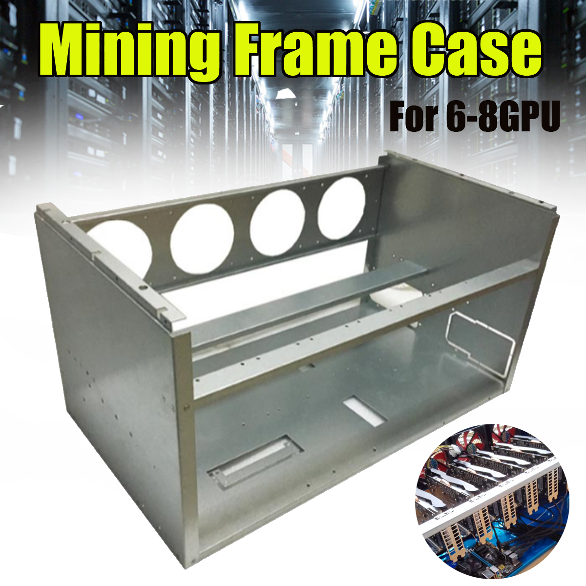 DIY Mining Frame Rig Case Mining Frame For 6-8 GPU Mining Crypto Currency Rigs Miner Without Fan