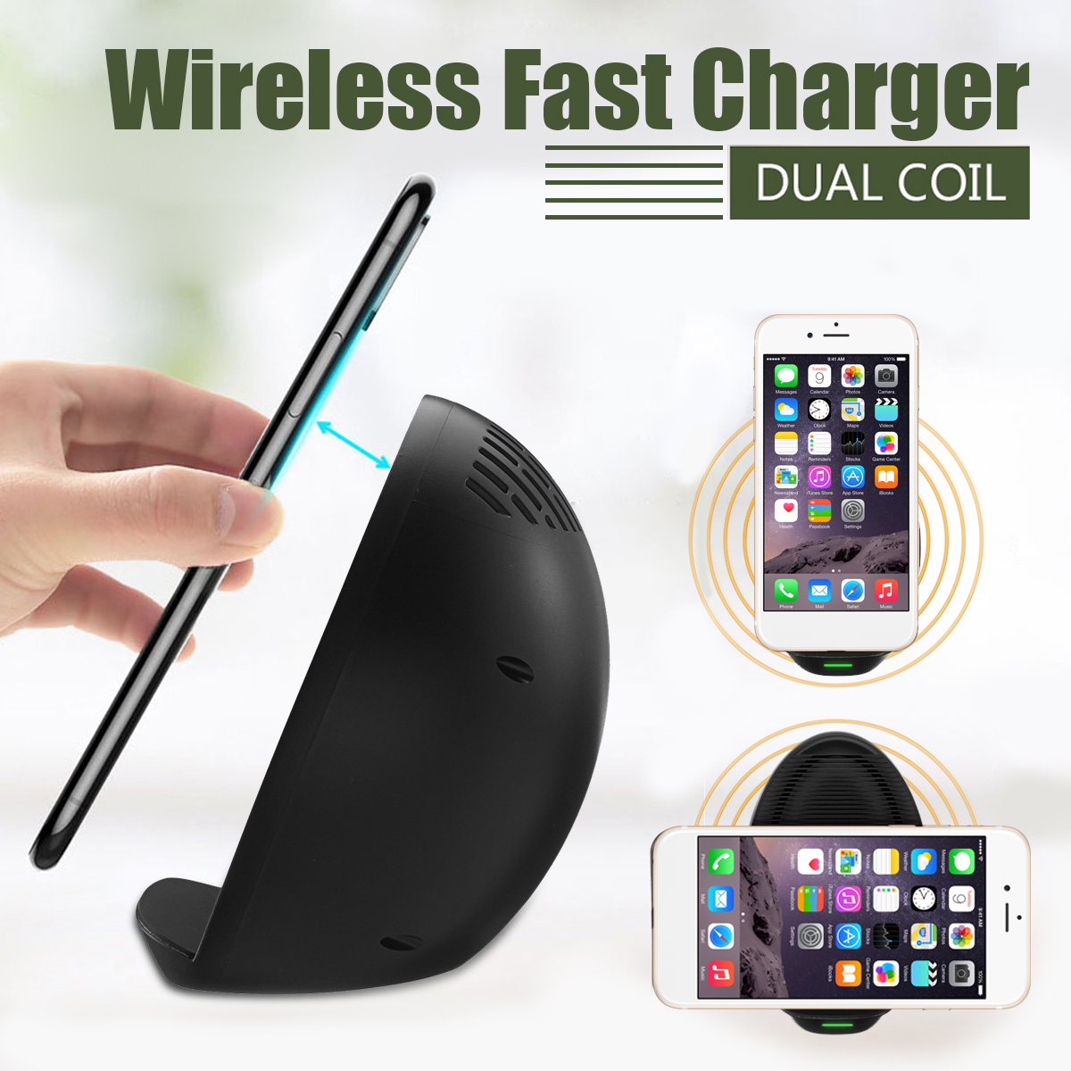 Wireless Qi Fast Stand Charger Dual Coil With Fan For Samsung S8 iPhone 8 Plus X