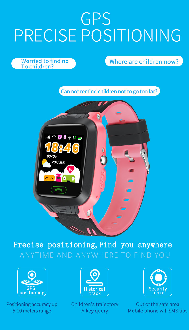 Bakeey Y81 1.4inch Touch Screen Children Child IP67 SOS Call GPS LBS Location Tracker Smart Watch