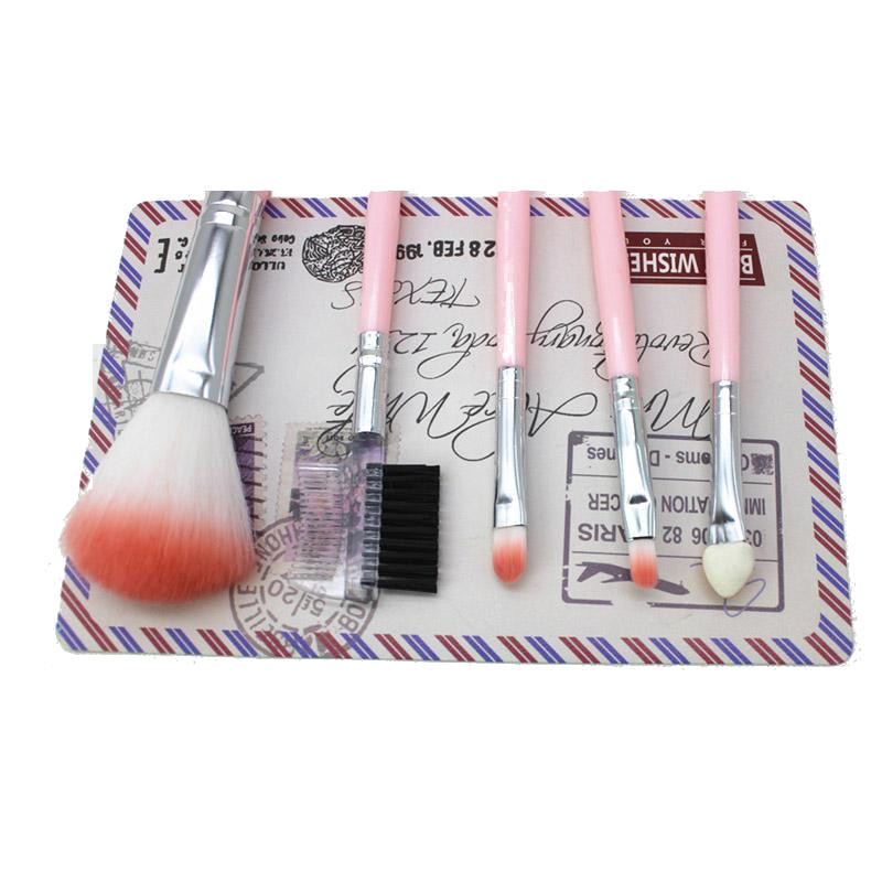 5 Pcs Pink Makeup Brushes Set Eye Shadow Face Powder Br