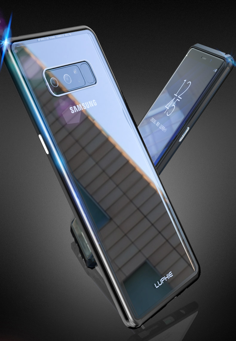 Luphie Magnetic Adsorption Aluminum Tempered Glass Protective Case For Samsung Galaxy Note 8