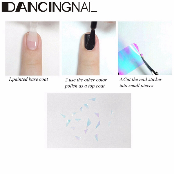 DIY Shiny Colorful Broken Glass Nail Art Foil Decoration Decal