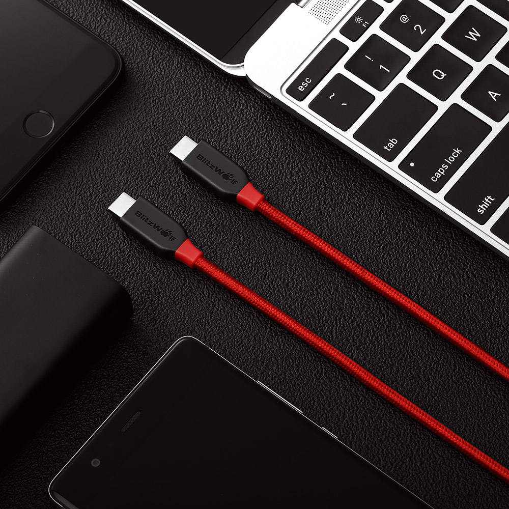 BlitzWolf® AmpCore BW-TC4 3A USB Type-C to Type-C Braided 3.33ft/1m Charging Data Cable