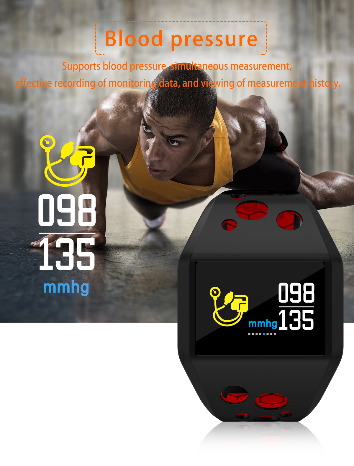 Bakeey X9 3ATM IP68 Waterproof Blood Pressure Heart Rate Monitor Sport Fitness Track Smart Wristband