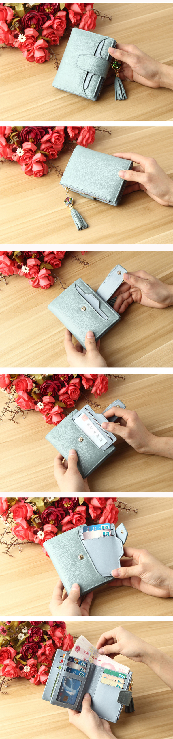 Women Genuine Leather Short Wallet Credit Card Holder