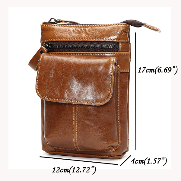 7inch Cell Phone Waist Bag Men Retro Genuine Leather Camera Waist Bag