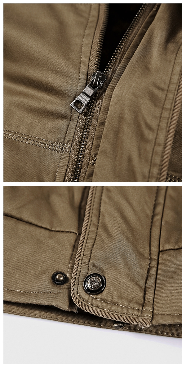 Mens Casual Fashion Stand Collar Fleece Warm Jackets Casual Thermal Breathable Jackets