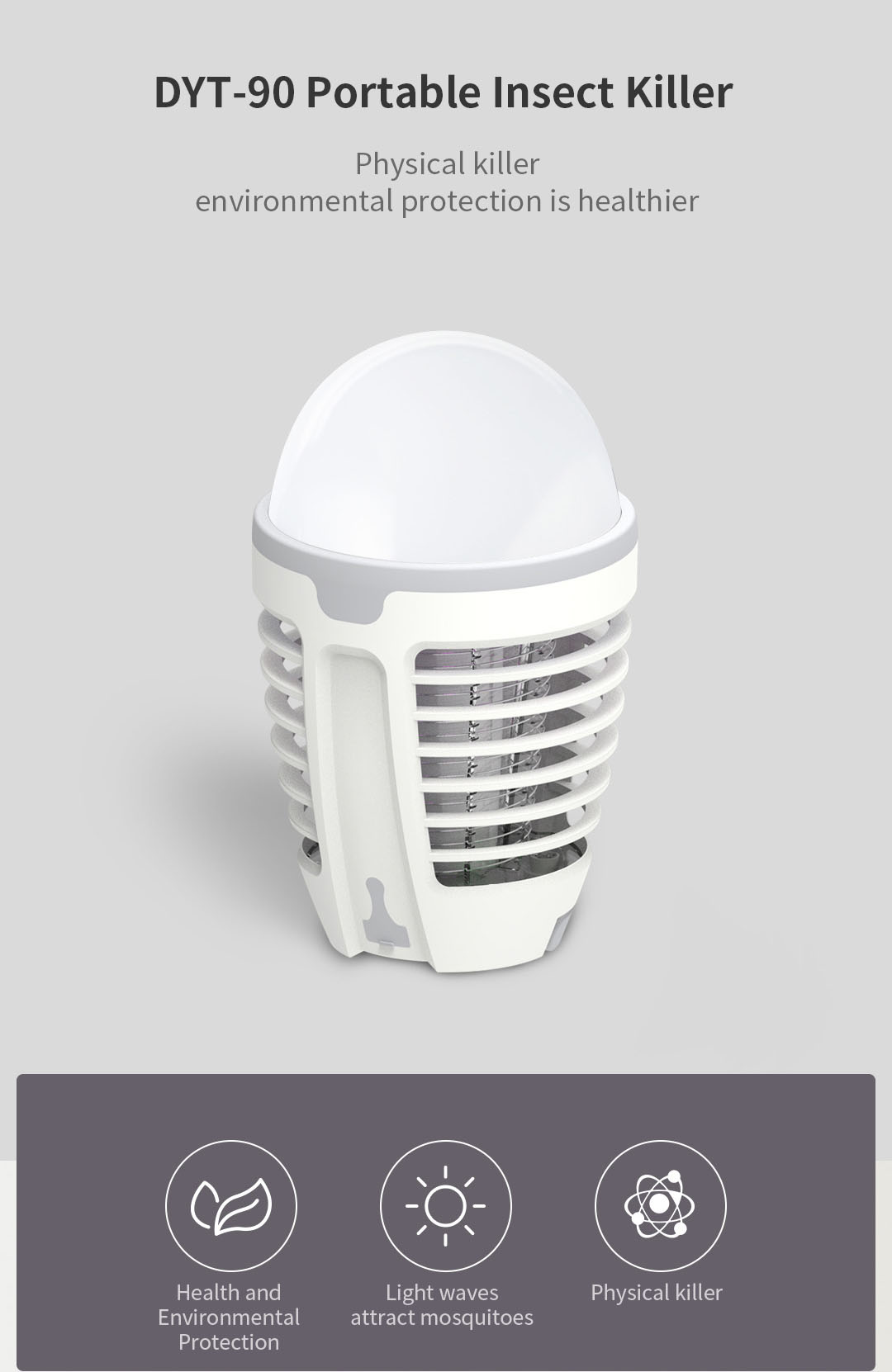 DYT-90 Portable Mosquito Killer Lamp 5V USB Charging LED Camping Night Light Insect Killer Lamp from Xiaomi Youpin -White