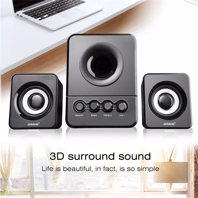 SADA D-203 Universal Desktop Stereo 3.5mm Aux Speaker USB Wired Loudspeaker for PC Tablet Phone