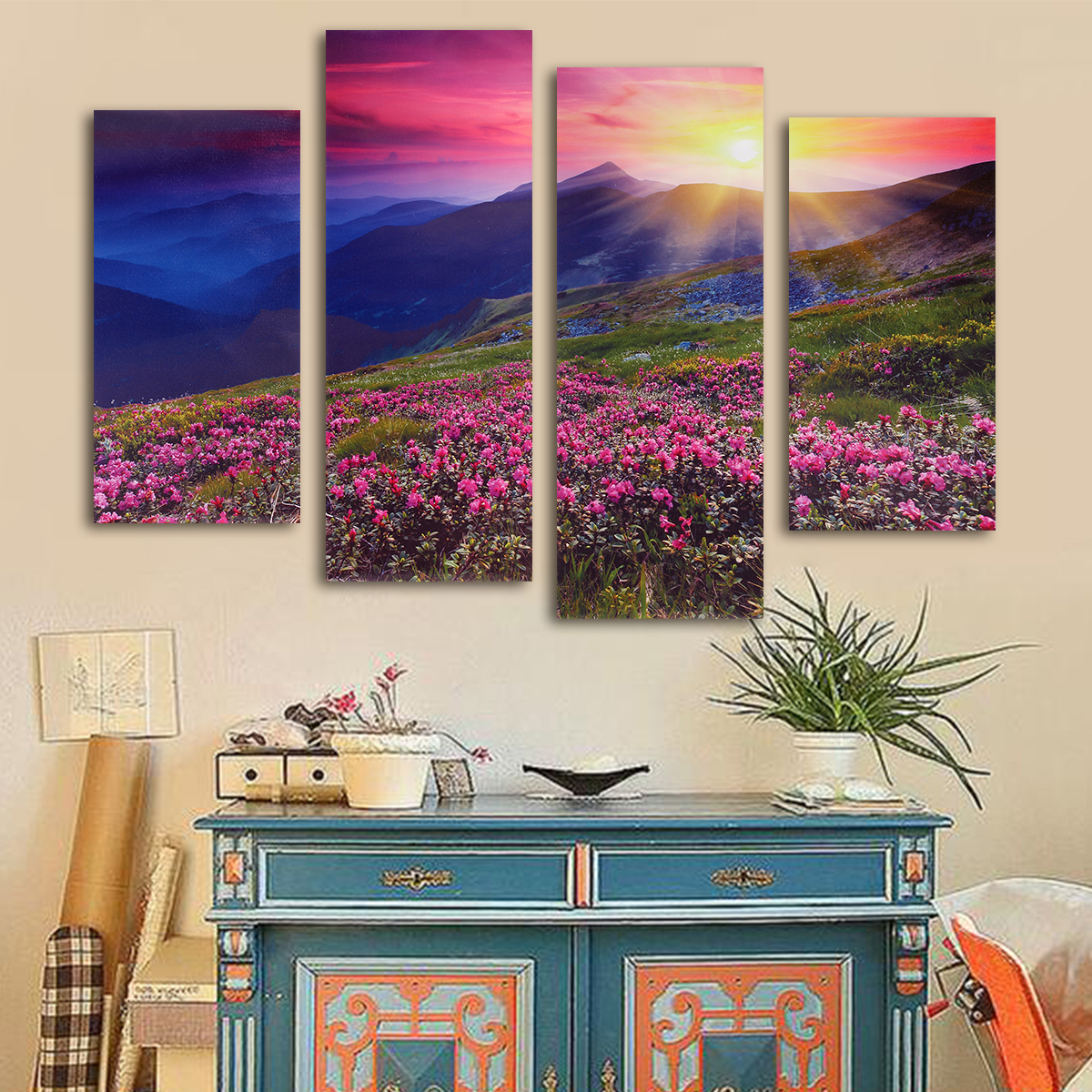 Four Cascade Modern Unframed Mountain Scene Canvas Painting Decorative Wall Picture Home Decoration