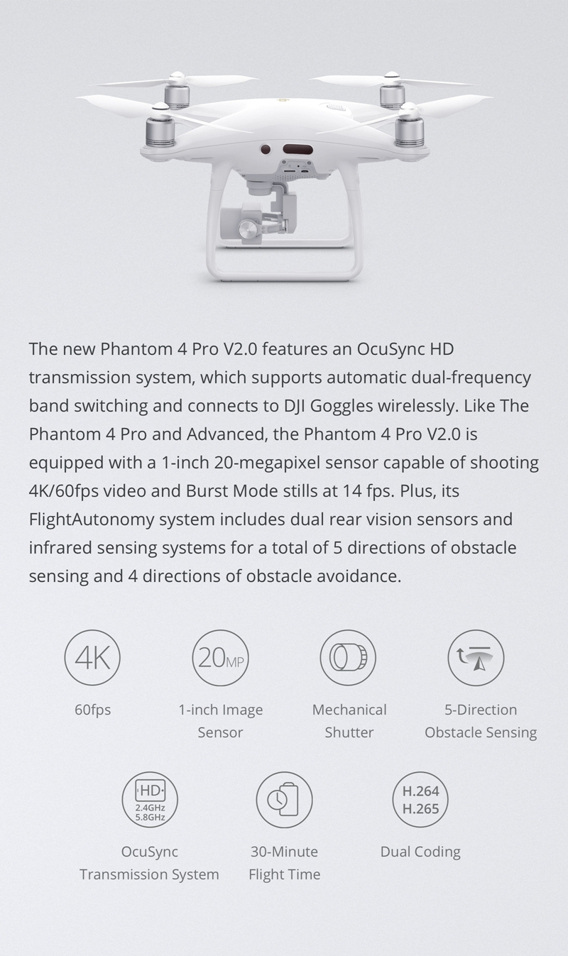 DJI Phantom 4 Pro V2.0 4K Camera 1-inch 20MP Exmor R CMOS Sensor 7KM FPV 30mins Flight Time RC Drone