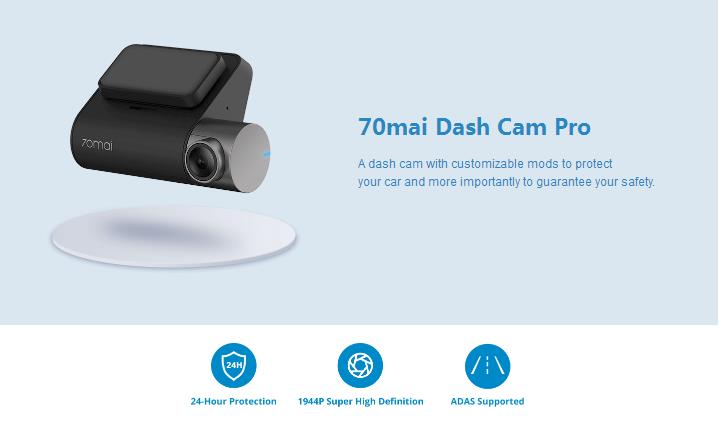 70mai Dash Cam Pro 1944P Car DVR Camera SONY IMX335 Sensor 140 Degree FOV Chinese Version from Xiaomi Youpin