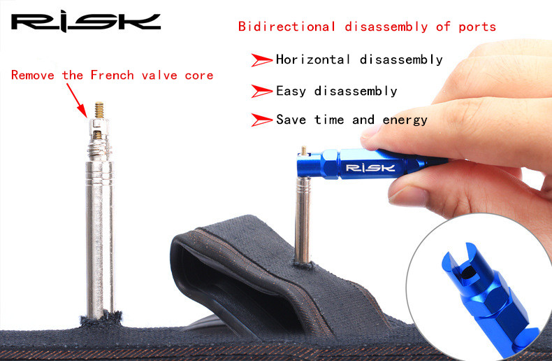 RISK Bicycle American Valve Core Tool MTB Road Bike Tube Tire Disassemble Wrench Cycling Repair Tool