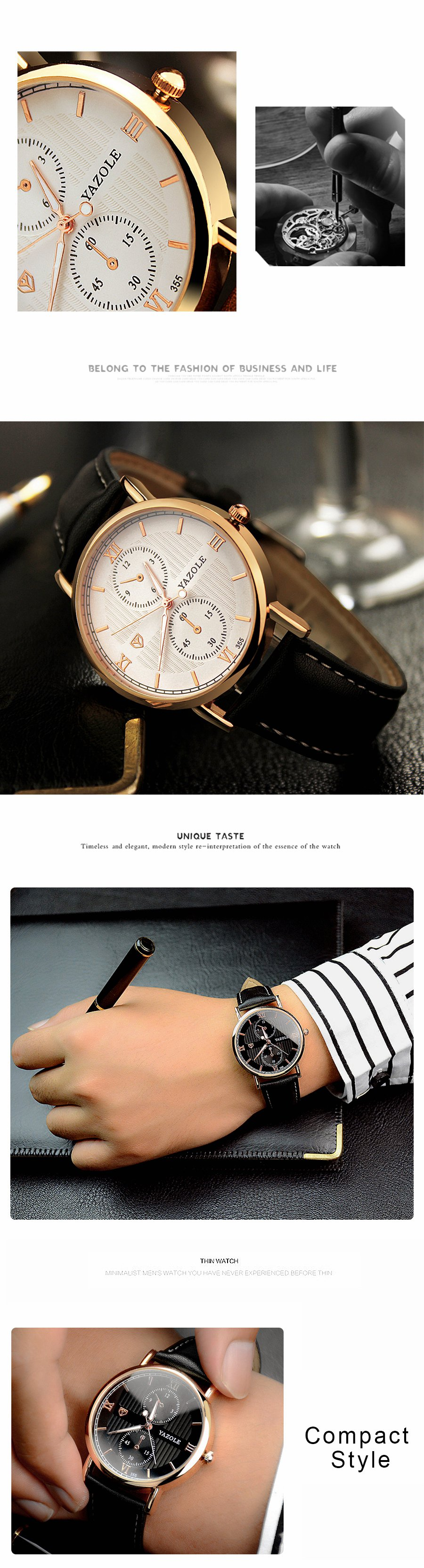 YAZOLE 355 Luminous Fashion Leather Strap Quartz Men Watch
