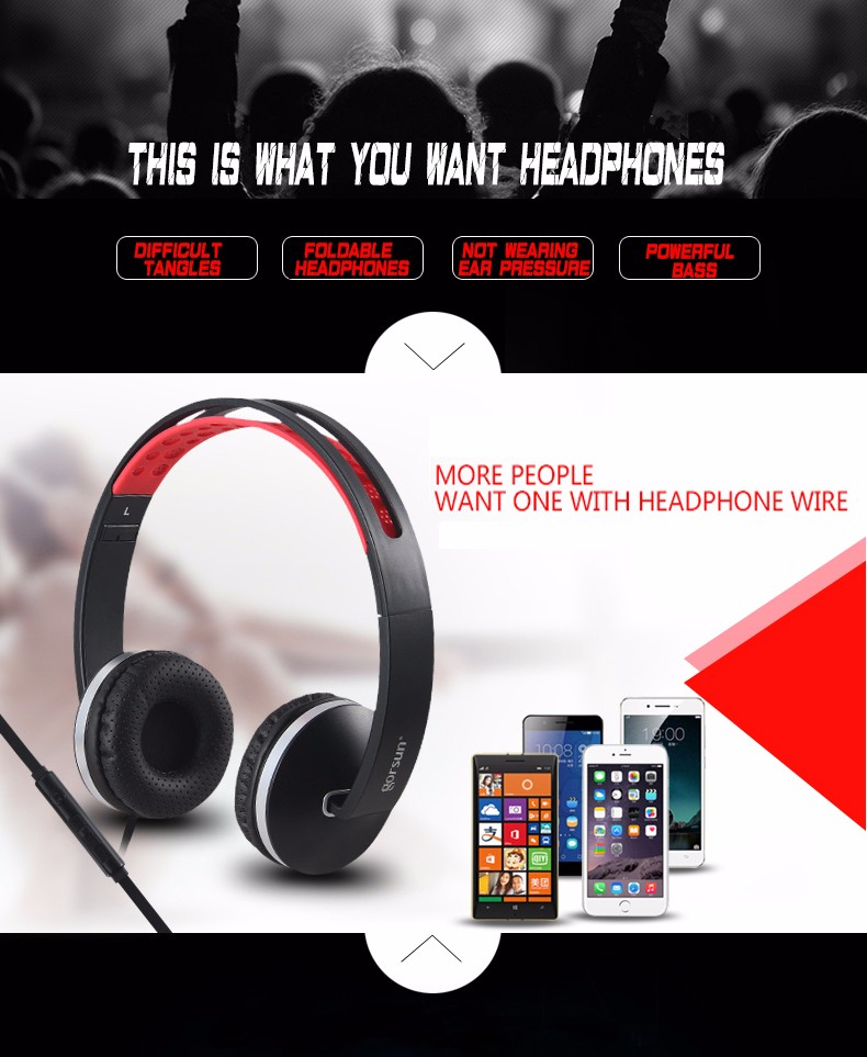 Gorsun GS-785 Wired Foldable Music Headphone Headset With Microphone For Iphone Samsung Huawei Nokia Xiaomi