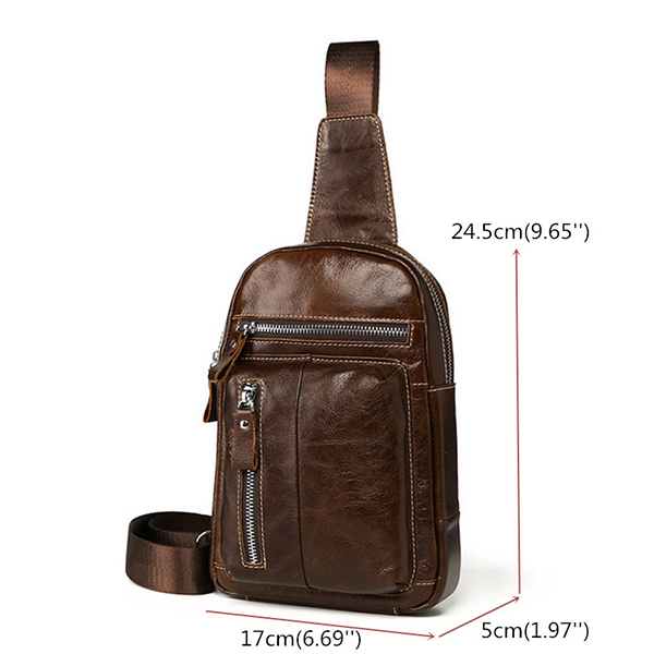 Ekphero Men Genuine Leather Chest Bag Retro Crossbody Bag