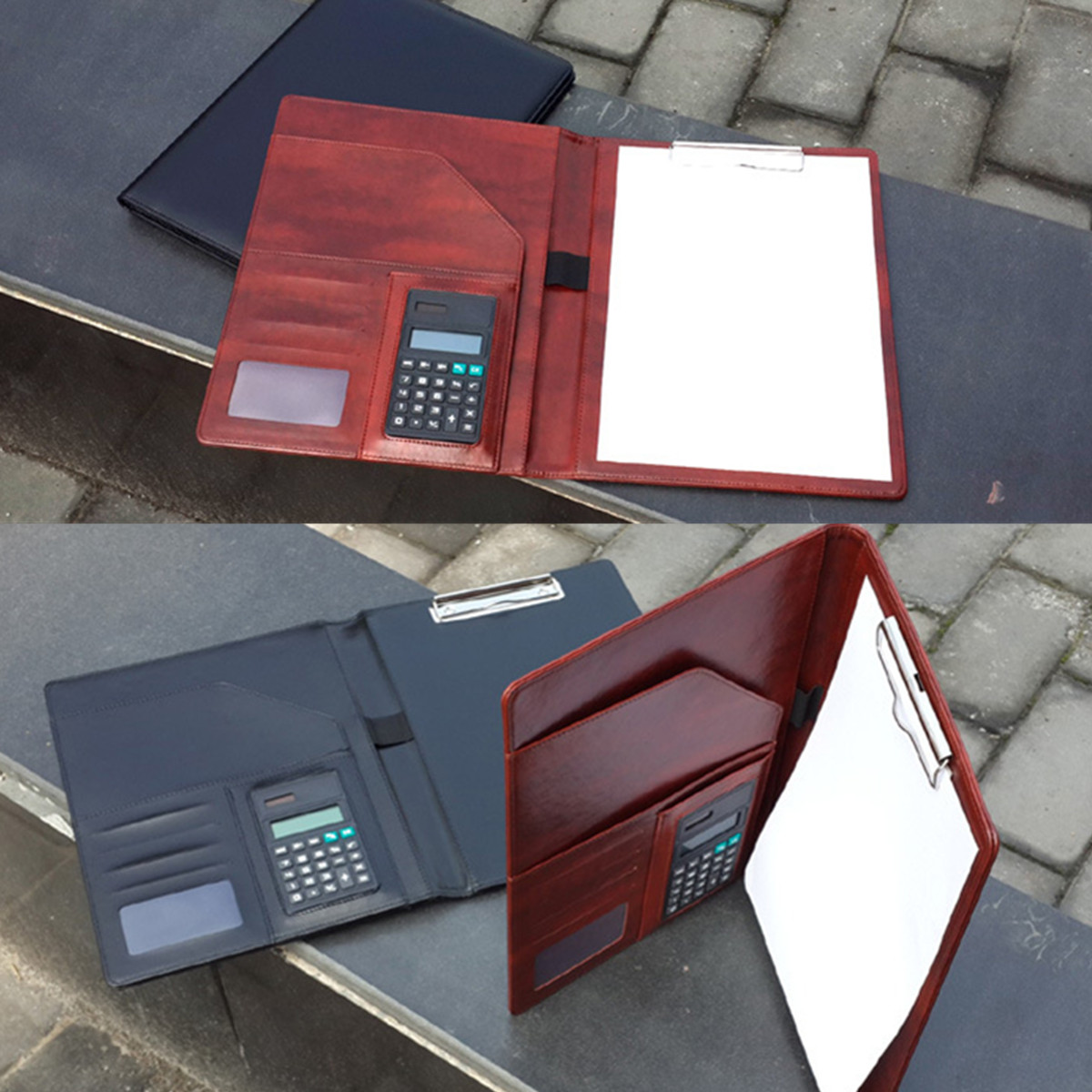 A4 PU Leather Multifunctional Clipboard Padfolio Business Office Document Organiser With Calculator