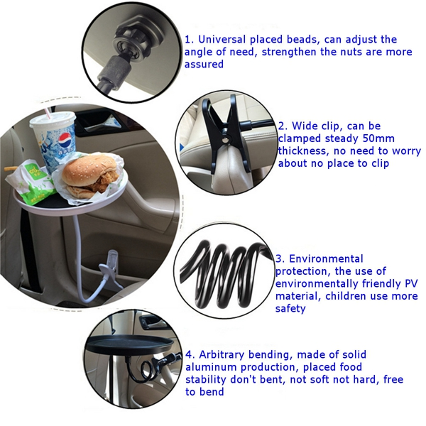 Car Drink Cup Coffee Table Stand Food Tray Clip Swivel Mount Desk Holder