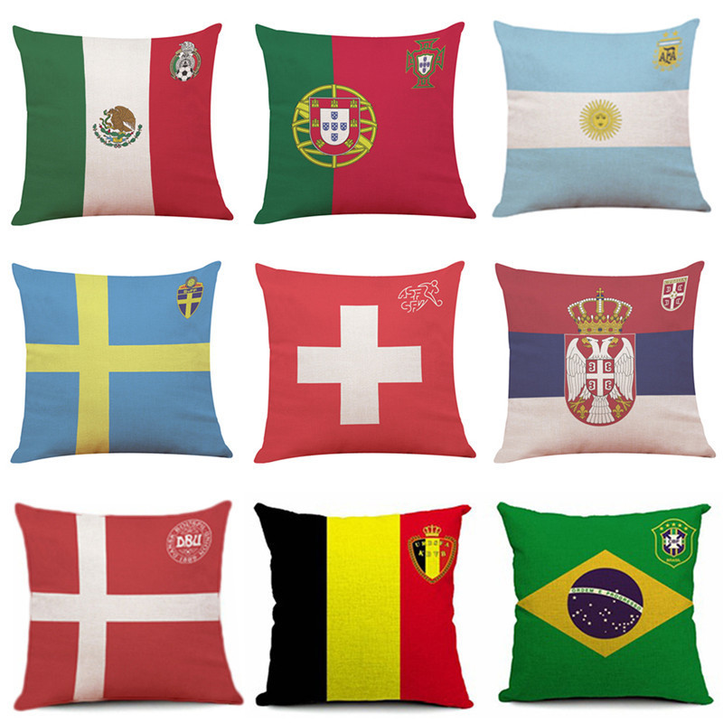 The 2018 Russia World Cup Home Decor Cushion Pillow Case Soccer Pillow Covers for Home Bedroom Sofa Holiday Decor