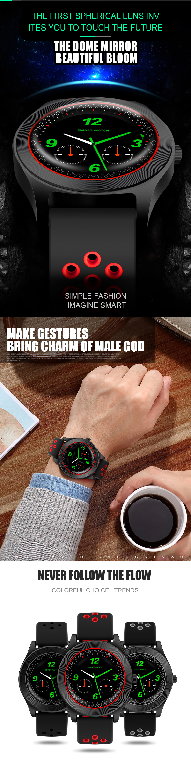 KALOAD TF8 1.54 Inch Spherical IPS Color Screen GSM Phone Call Pedometer Stopwatch Smart Watch
